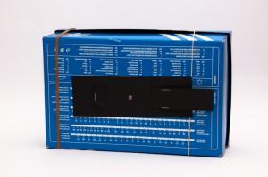 Shoebox pinhole camera shutter on bottom